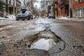 Large deep pothole Royalty Free Stock Photo
