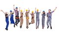 Large diverse group of workmen and women leaping in the air cheering at the successful completion a team project isolated Stock Photos