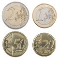 Large Euro Coins Royalty Free Stock Photos