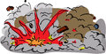 Large explosion cartoon with flying debris on white background Stock Images