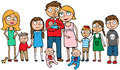 Large family with many children cartoon vector illustration of a huge ten kids Stock Image