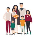 Large family portrait. Asian mother, father and five children. Happy people with relatives. Colorful flat illustration. Royalty Free Stock Photo