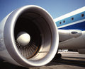 Large fan jet aircraft engine a on a commercial airliner Stock Image