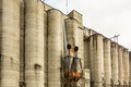 Large farm industrial silos Royalty Free Stock Photo