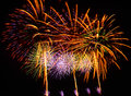 A large fireworks display event rataya in thailand Stock Images