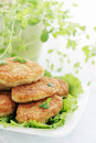 Large fried cutlets with thyme and lettuce Royalty Free Stock Images