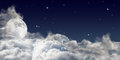 Large full moon above dark clouds sky with and Royalty Free Stock Images