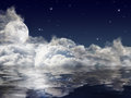 Large full moon and dark clouds with reflection Royalty Free Stock Photo