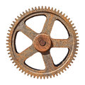 Large gear wheel cogs rusty on white background