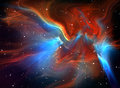Large glowing nebula colorful illustration Royalty Free Stock Photo