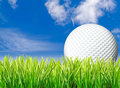 Large golf ball, grass & sky Royalty Free Stock Photography