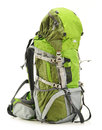 Large green touristic backpack white background Royalty Free Stock Photo