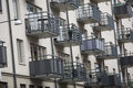 Large group of balconys on an apartment building Stock Image