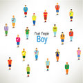 A large group of boys gather design together icon Stock Image