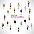 A large group of businesswomen gather design together icon Royalty Free Stock Images