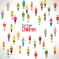A large group of children gather design together icon Royalty Free Stock Photos