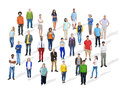 Large group of diverse multiethnic colorful people Stock Photos