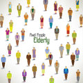 A large group of elderly gather design together icon Stock Photo