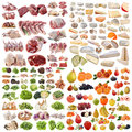 Large group of food in front white background Stock Images