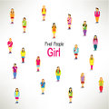 A large group of girls gather design together icon Stock Photography