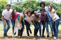 Large group of happy laughing international young adults Royalty Free Stock Photo