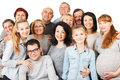 Large group of happy people smiling and embracing portrait a diversity mixed age multi generation family standing together Stock Images