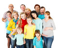 Large group of happy people standing together portrait a a mixed age smiling and embracing Stock Image