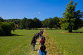 Large group of hikers chiltern hills uk st august a people hiking the chiltern hills during a bright summer day Stock Images