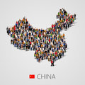 Large group of people in China map form. Population of China or demographics template. Royalty Free Stock Photo