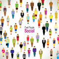 A large group of people gather design pixel together icon Royalty Free Stock Photo