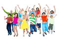 Large Group of People Having Fun Together Stock Images