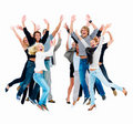Large group of people jumping in the air, Stock Photography