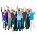 Large group of people jumping together Royalty Free Stock Photos