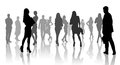 Large group of people silhouette over white background Royalty Free Stock Image