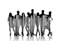 Large group of people silhouette over white background Royalty Free Stock Photos