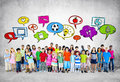 Large group of student with education concept Royalty Free Stock Image
