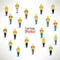 A large group of worker gather design together icon Stock Images