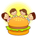 Large hamburger and Family Mascot. Home and Family Character Des Stock Photos