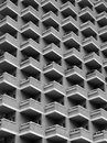 Large high rise modern apartment building with balconies Royalty Free Stock Photo
