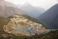 Large himalayan mountain town namche bazaar from above nepal Stock Photo