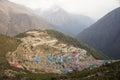 Large himalayan mountain town namche bazaar from above nepal Stock Photo