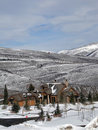 Large houses in winter mountains Royalty Free Stock Image
