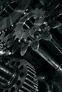 Large industrial gears cogs titanium steel concept Stock Image