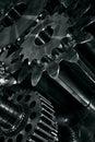 Large industrial gears cogs titanium steel concept Stock Image