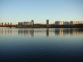 A large lake in the city borisovsky ponds moscow is very beautiful fishermen catch fish all around park and recreation area Royalty Free Stock Photos