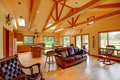Large living room on the horse ranch Royalty Free Stock Photo