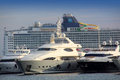 Large luxury yachts, passenger cruise ferry boat Stock Photos