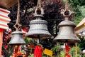 Large metallic bells in  Naina Devi Temple at Nainital, India Royalty Free Stock Photo