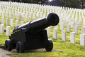 Large military cannon stands enlisted men cemetery headstones burial grounds many have fallen in war and some are laid to rest Royalty Free Stock Images