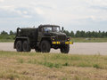 Large military truck moscow region june a traveling at the airport at an air show in the international technical forum Stock Images